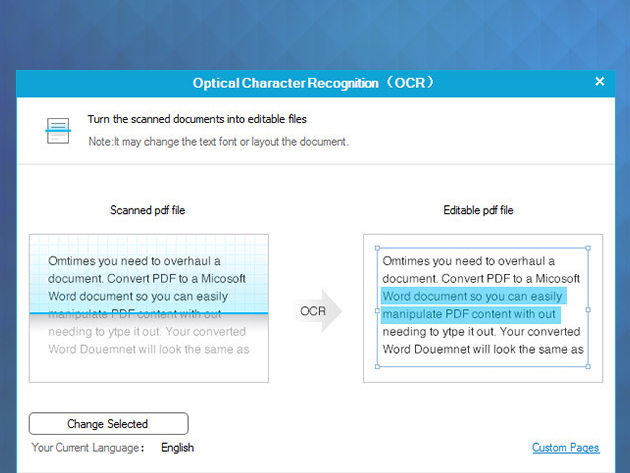 how to change pdf to ocr