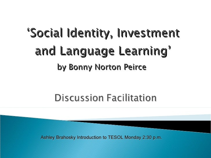 social identity investment and language learning pdf