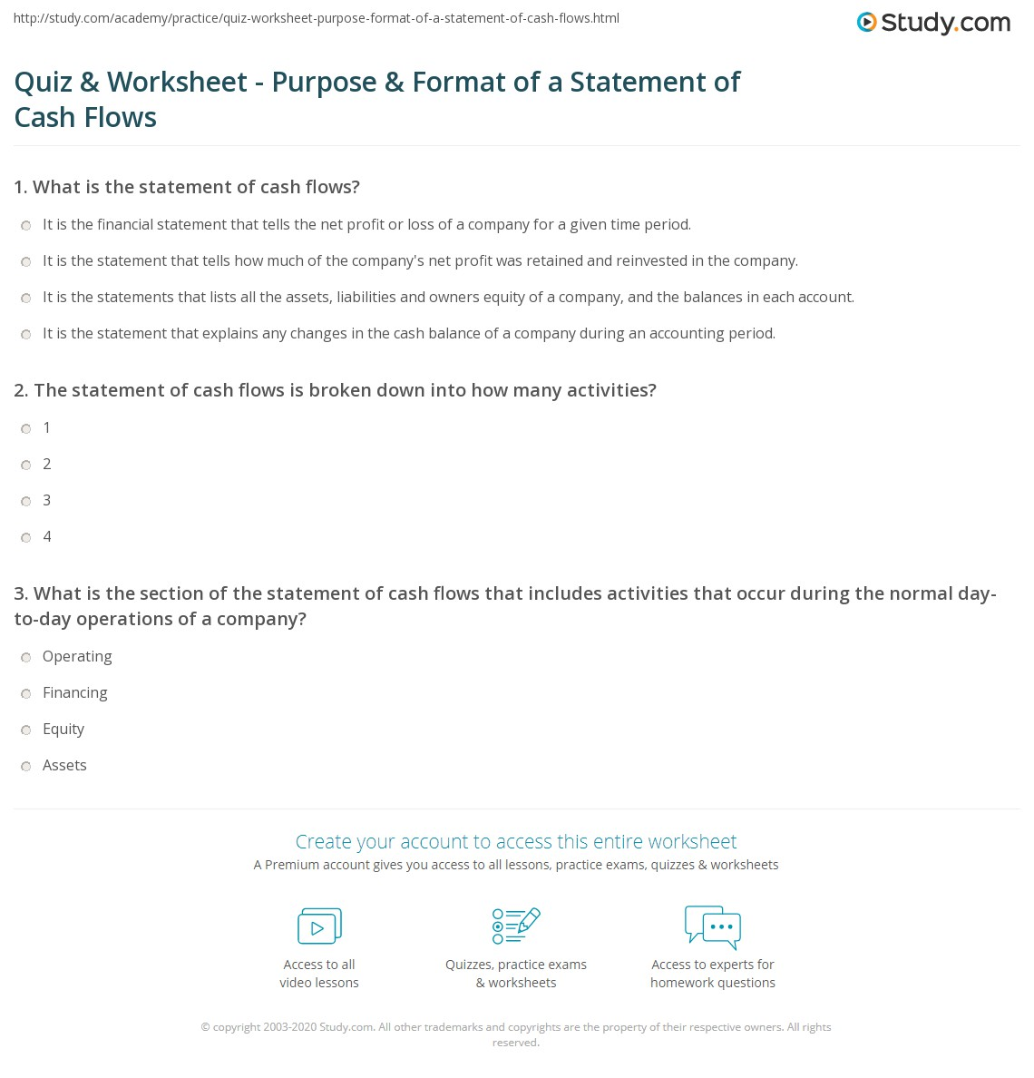 cash flow statement questions and answers pdf