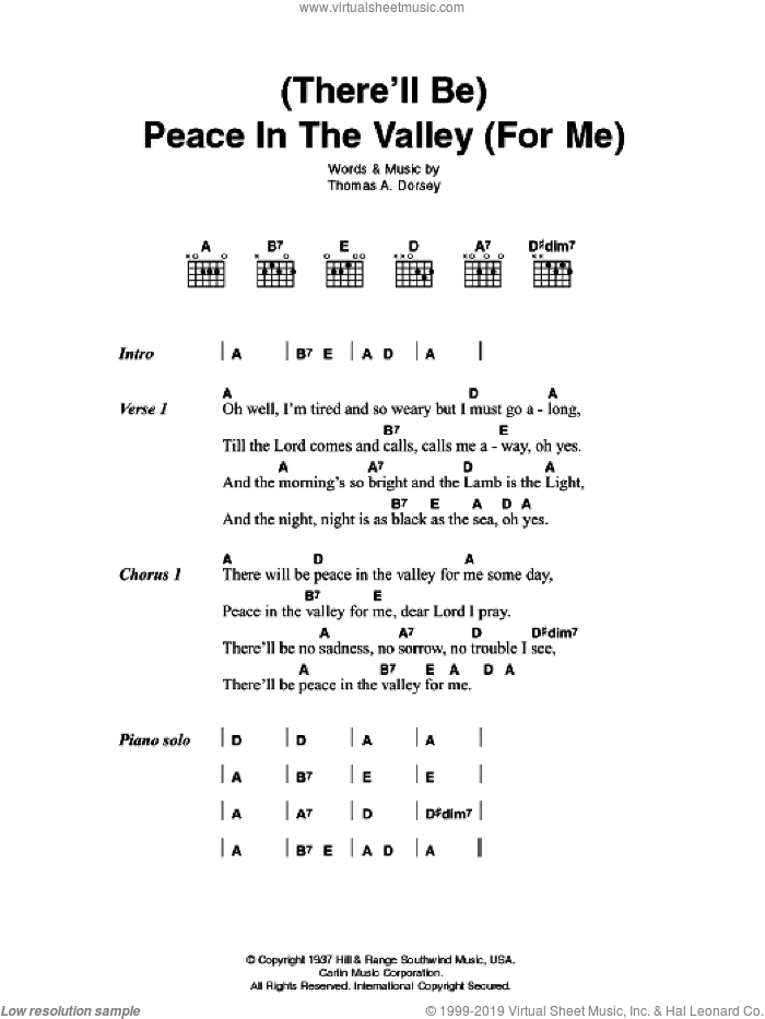 peace in the valley sheet music pdf